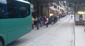 Queing for buses at Aguas Calientes