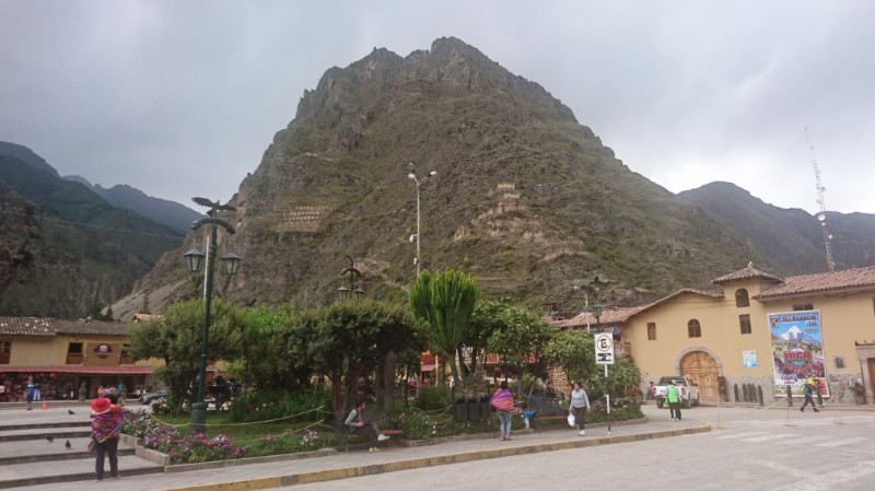 Ollantaytambo Plaza looking toward Pinkuylluna