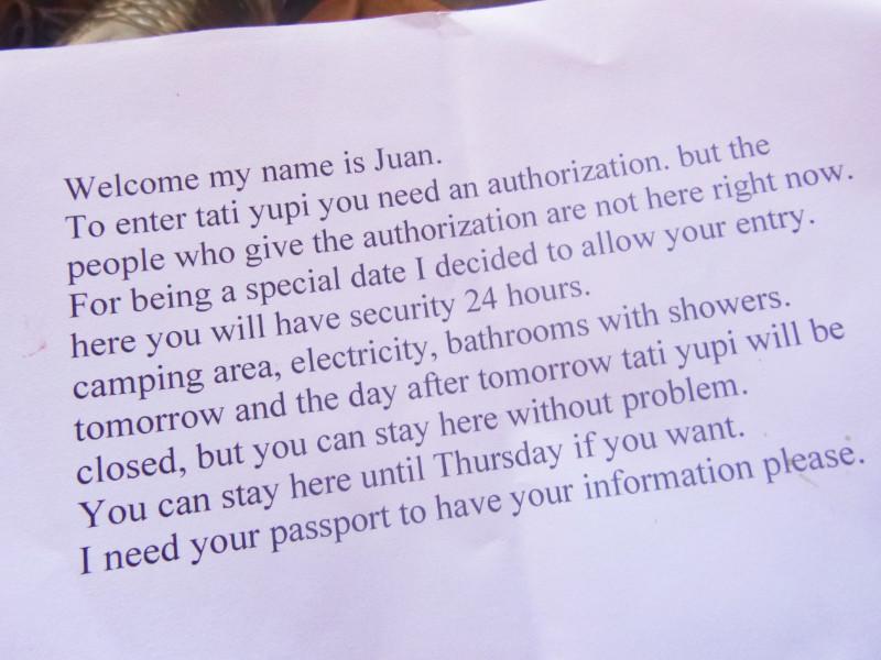 Juan's note.