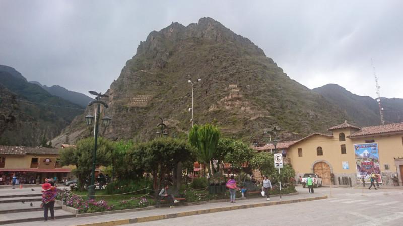 Ollantaytambo Plaza looking toward Pinkuylluna
