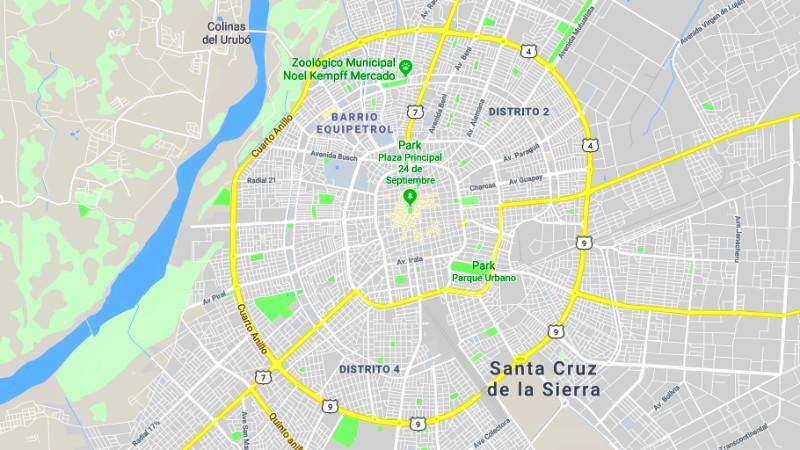 Santa Cruz de la Sierra Map, Bolivia